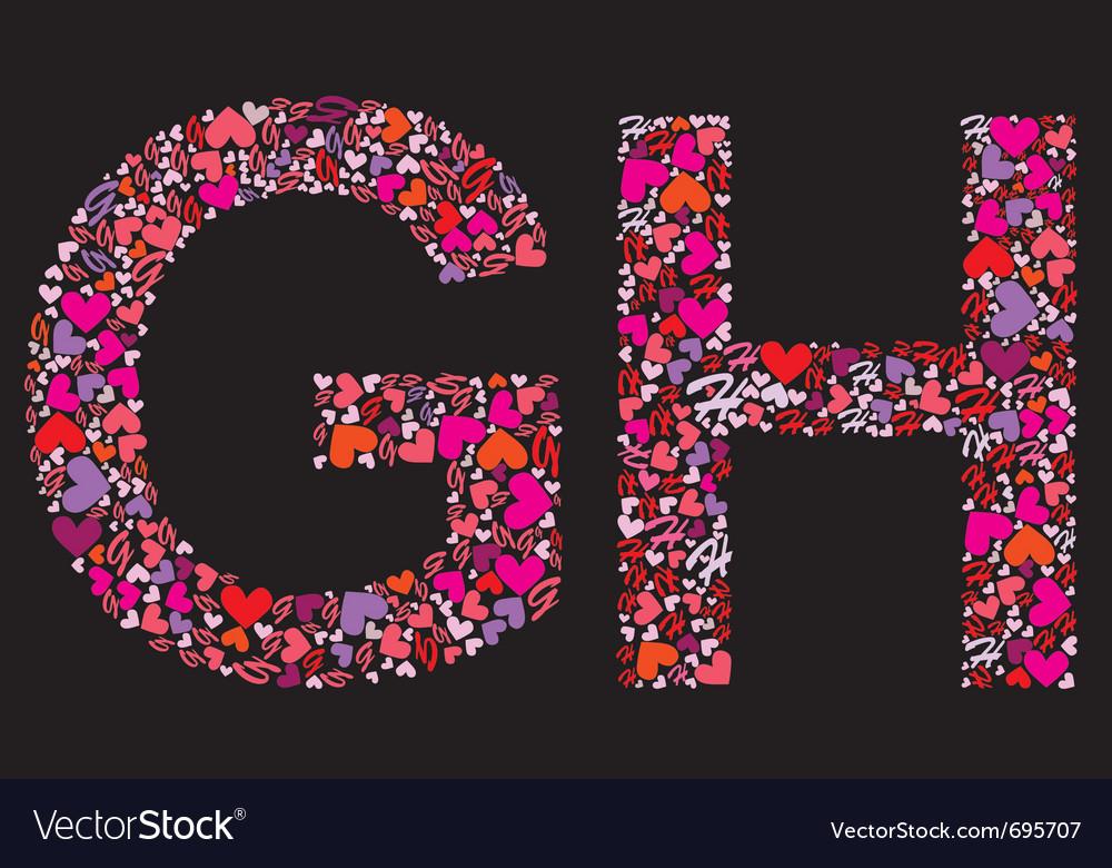 Letter g h valentine alphabet vector | Price: 1 Credit (USD $1)