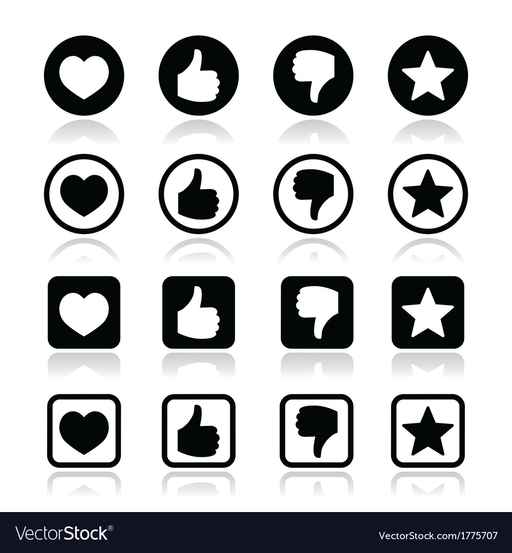 Like thumb up love favorite icons set vector