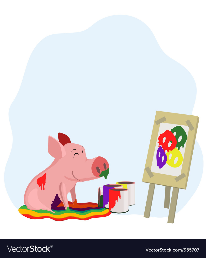Paints a picture of a pig vector | Price: 1 Credit (USD $1)