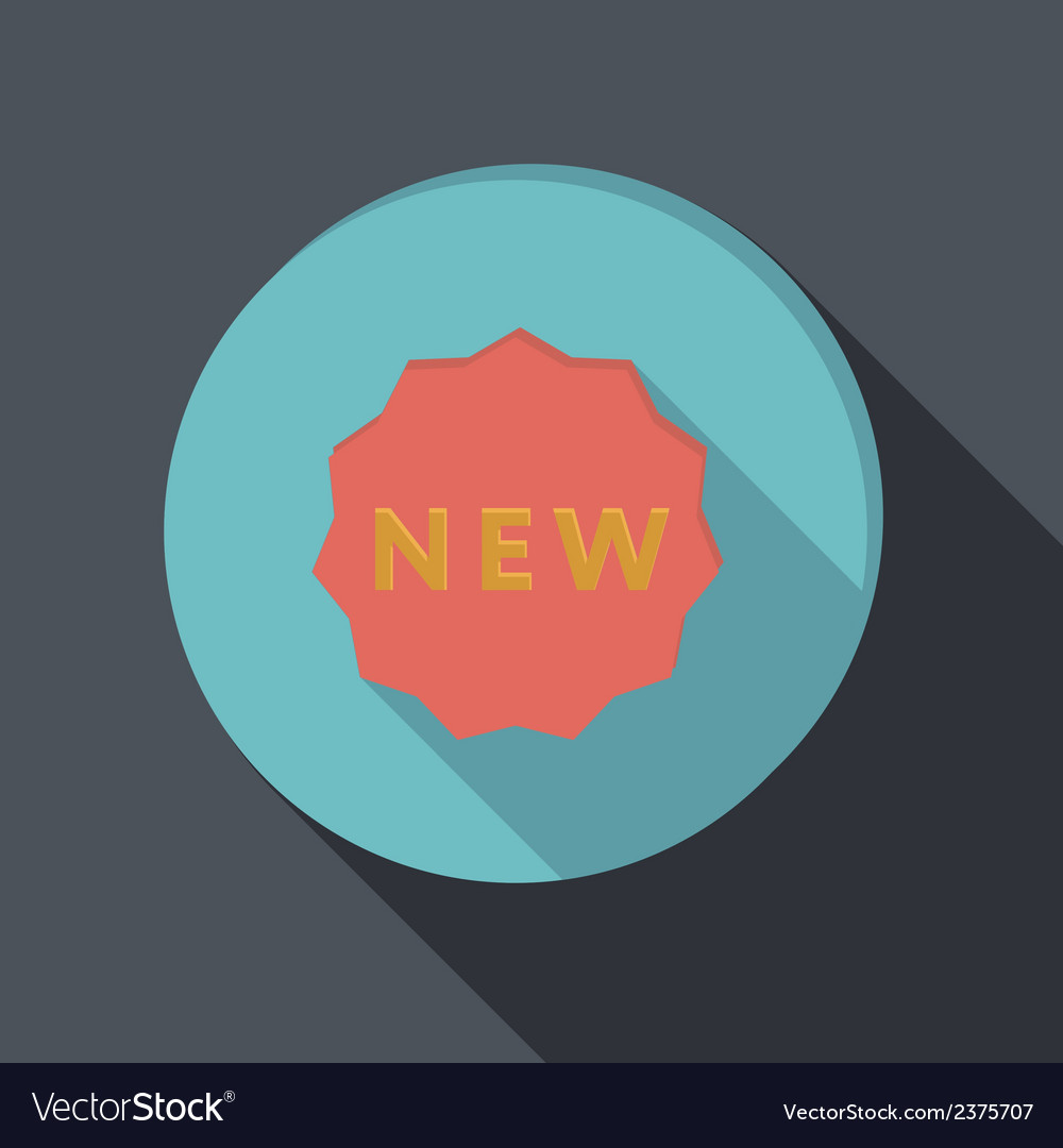 Paper flat icon label new vector | Price: 1 Credit (USD $1)