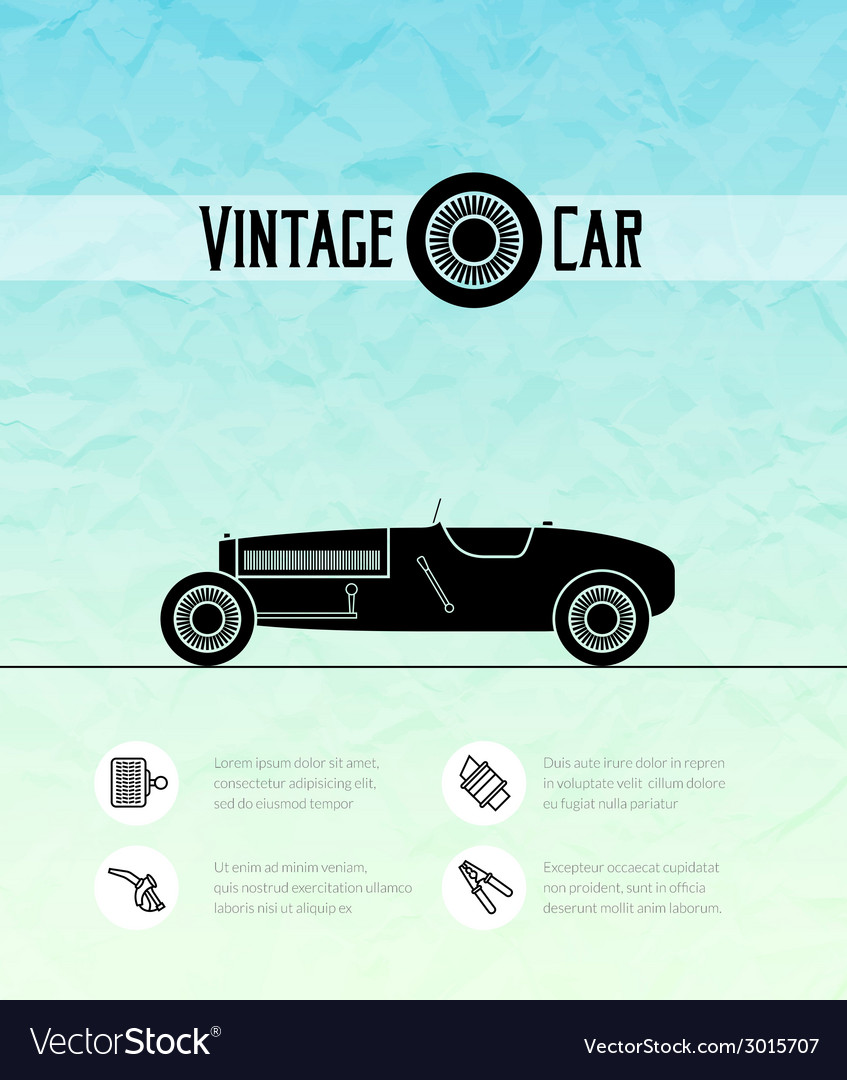 Retro sport racing car vintage outline style vector | Price: 1 Credit (USD $1)