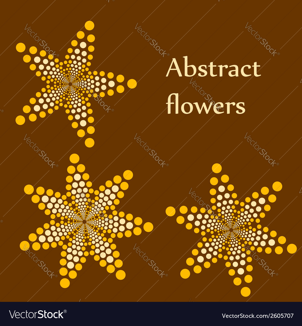 Set of 3 abstract flowers made of dots vector | Price: 1 Credit (USD $1)
