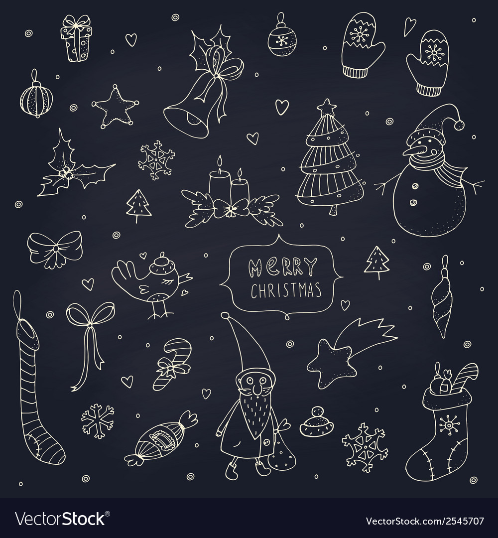 Set of doodle christmas decorations on blackboard vector | Price: 1 Credit (USD $1)