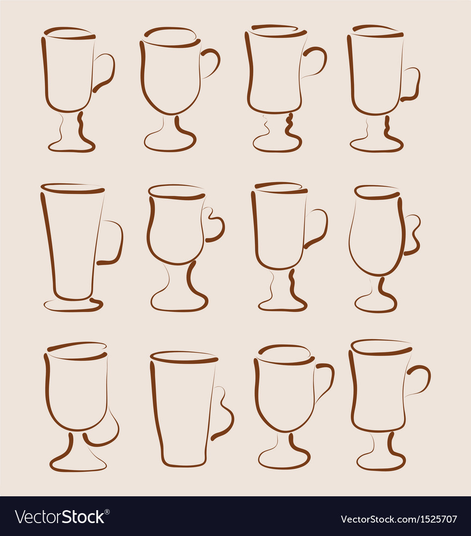 Sketch set coffee and latte cups design elements vector | Price: 1 Credit (USD $1)