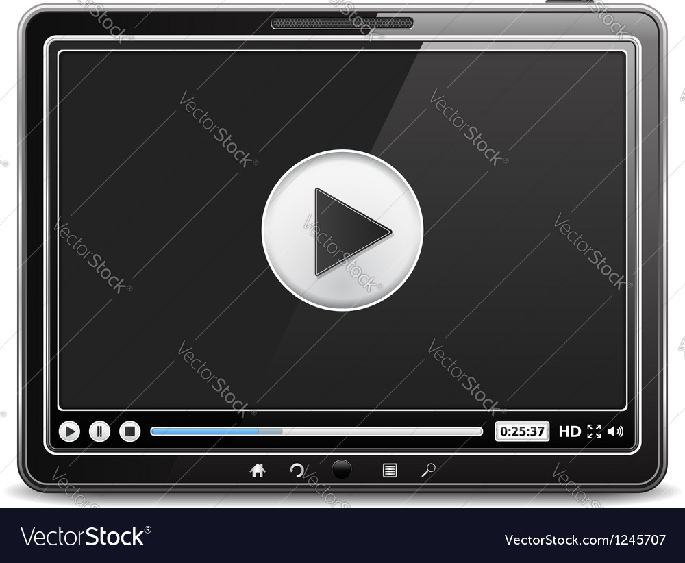 Tablet computer with video player vector | Price: 3 Credit (USD $3)