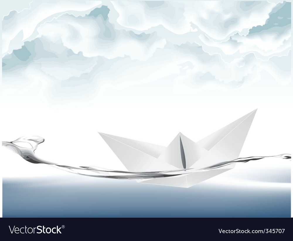 White paper boat vector | Price: 1 Credit (USD $1)