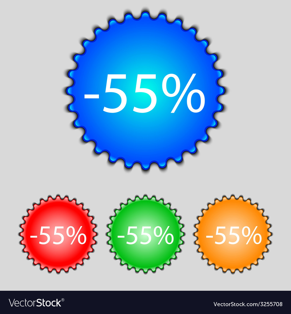 55 percent discount sign icon sale symbol special vector | Price: 1 Credit (USD $1)