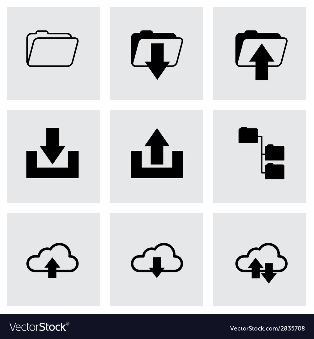 Black ftp icons set vector | Price: 1 Credit (USD $1)