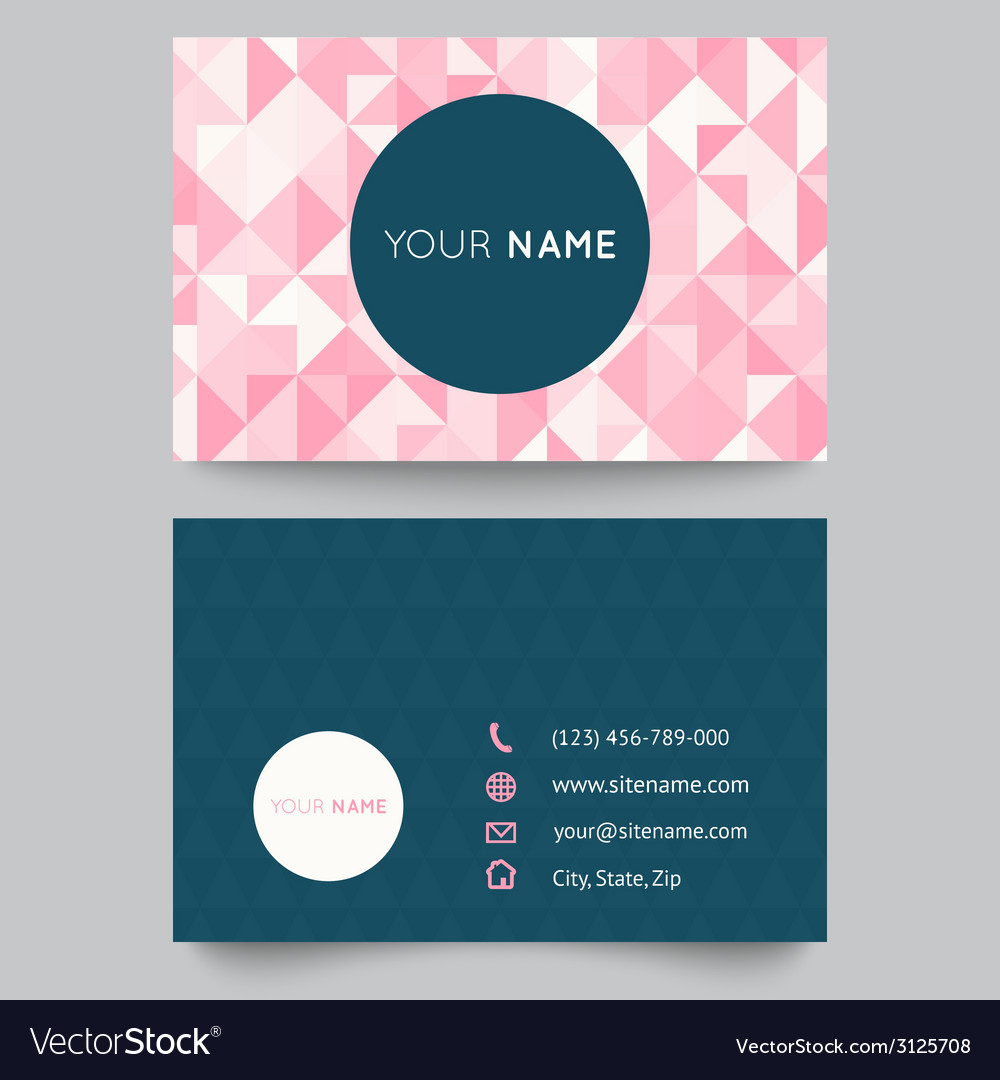 Business card template abstract crystal pink vector | Price: 1 Credit (USD $1)