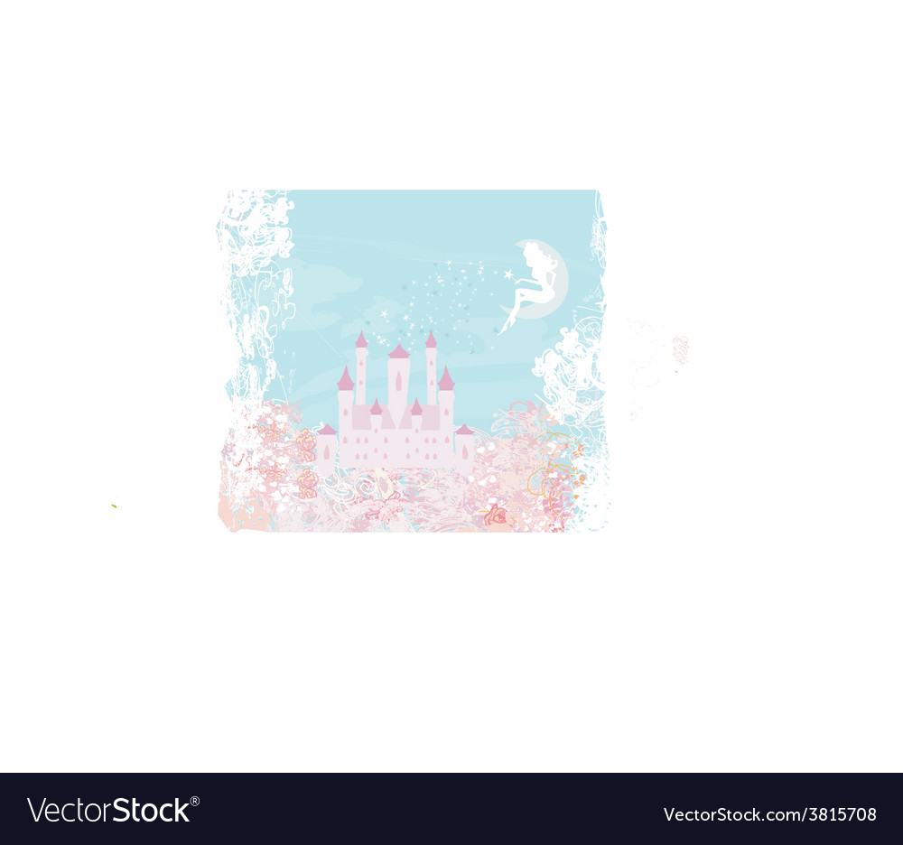 Fairy flying above castle vector   Price: 1 Credit (USD $1)