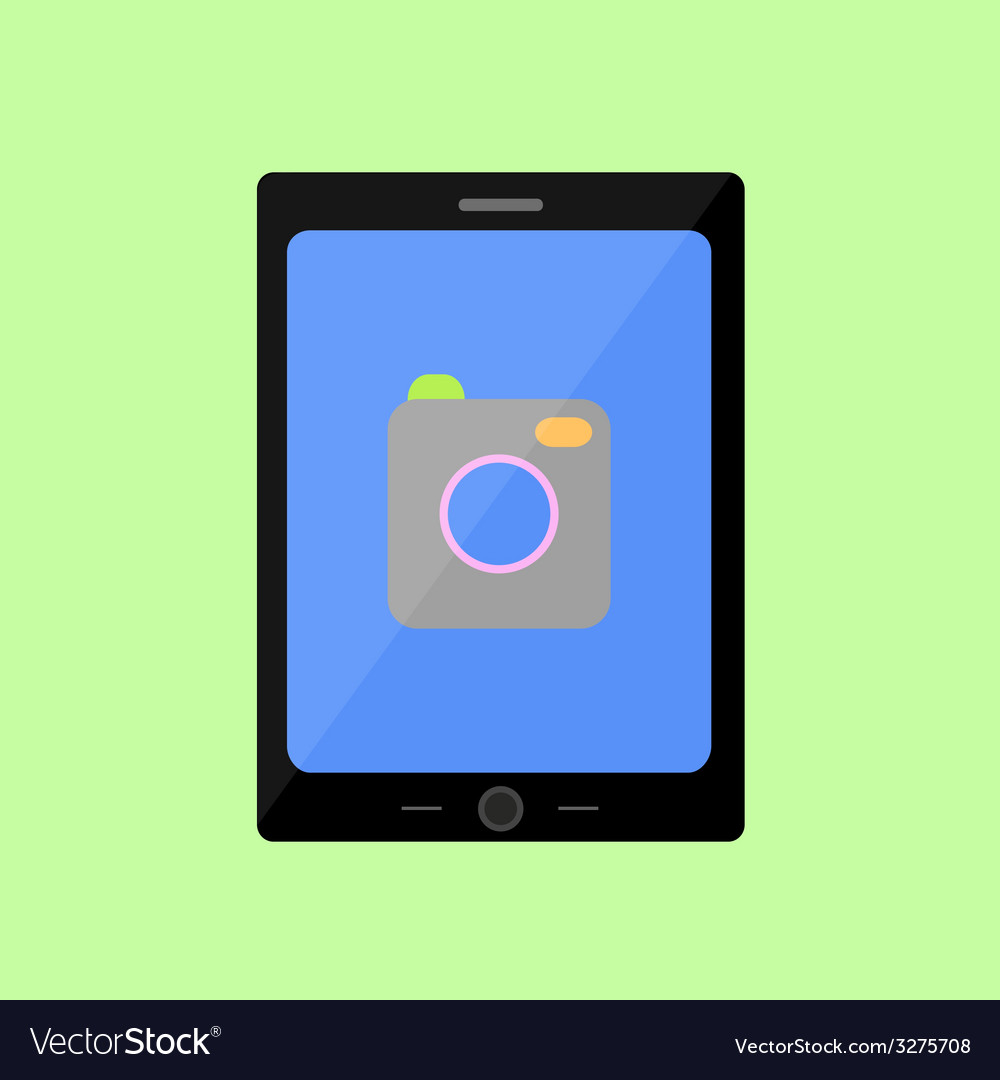 Flat style touch pad with camera vector   Price: 1 Credit (USD $1)