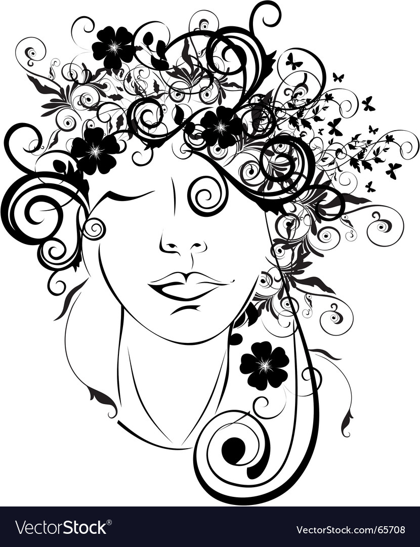 Floral girl vector | Price: 1 Credit (USD $1)