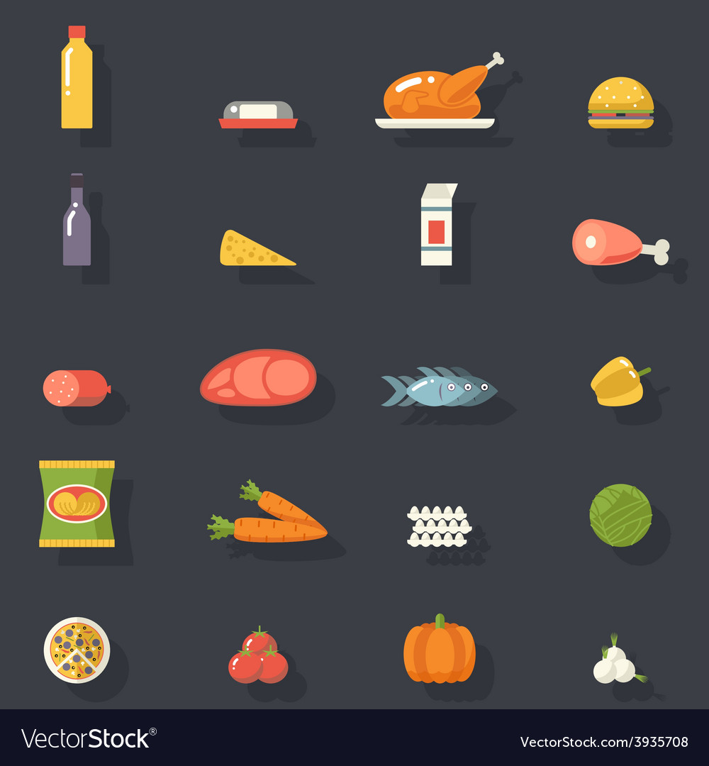 Food icons set meat fish vegetables drinks for vector | Price: 1 Credit (USD $1)