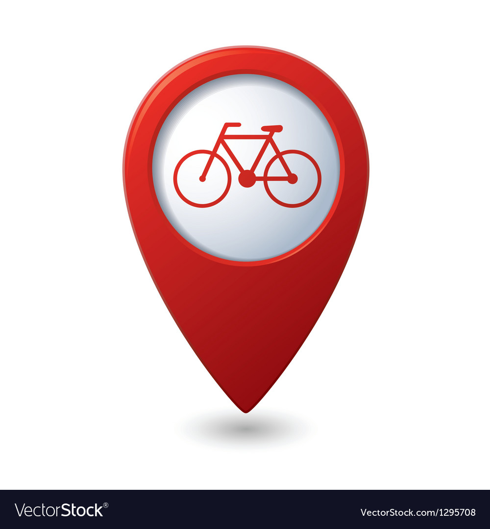 Map pointer with bicycle icon vector | Price: 1 Credit (USD $1)