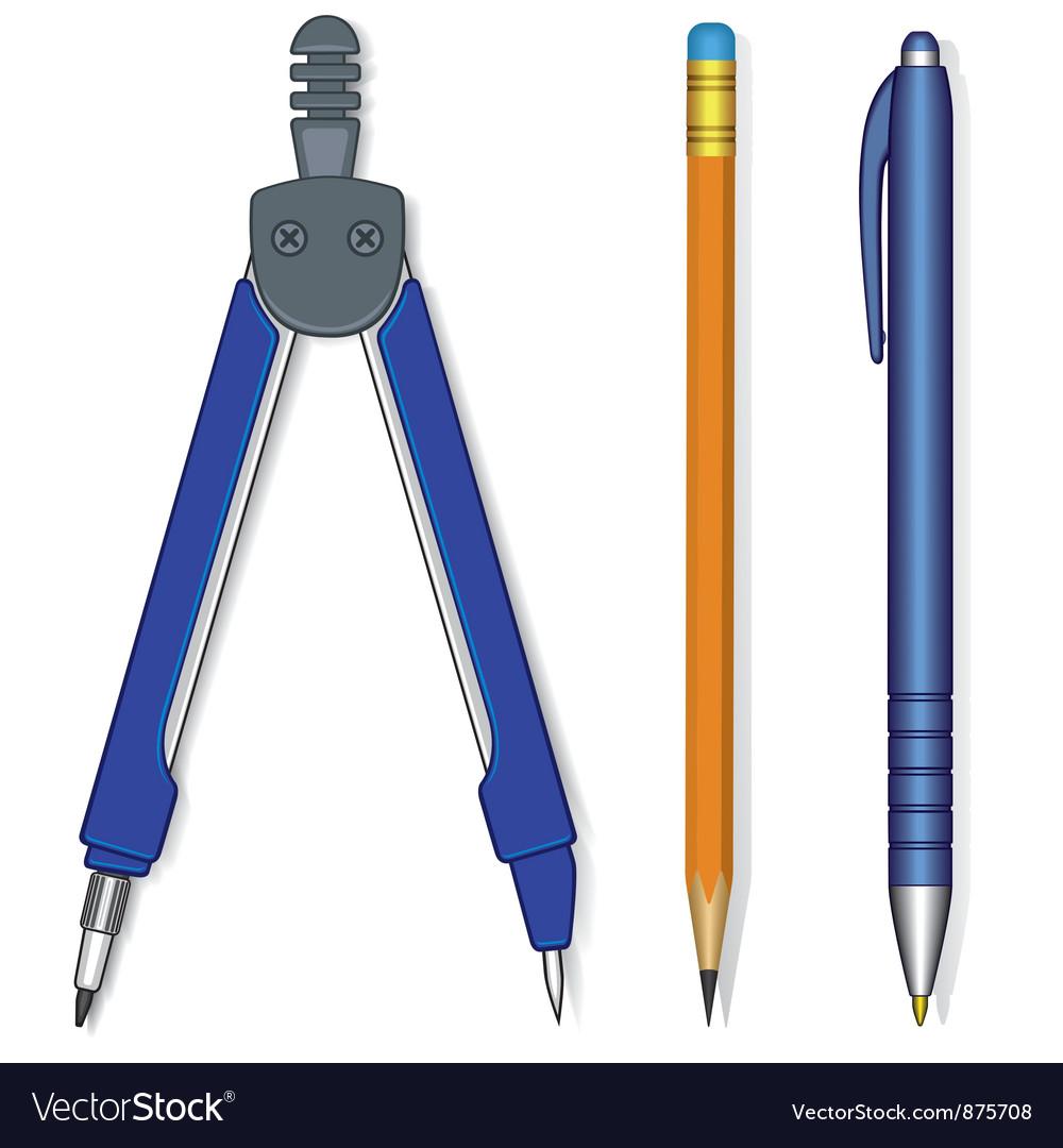 Pen compasses and pencil vector | Price: 1 Credit (USD $1)