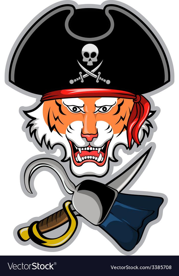 Pirate tiger vector | Price: 3 Credit (USD $3)