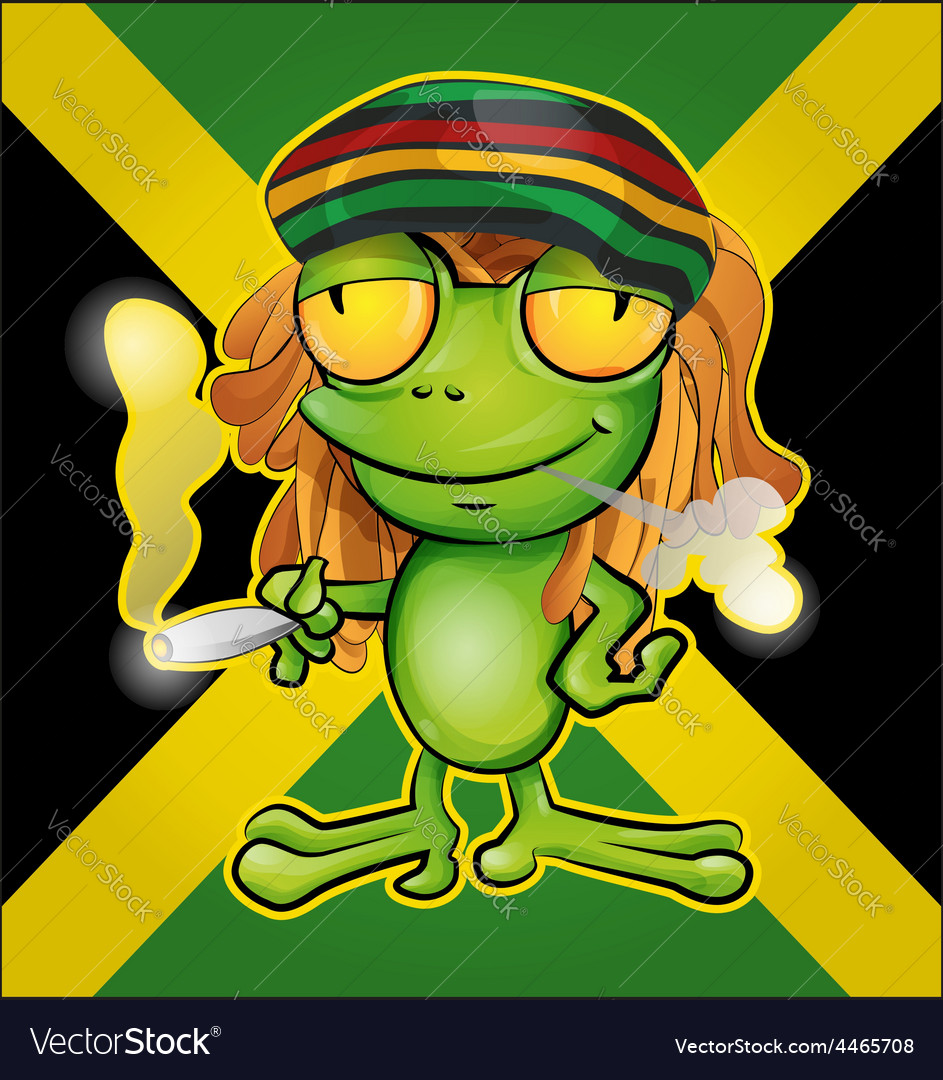 Rastafarian frog cartoon on jamaican flag vector   Price: 3 Credit (USD $3)