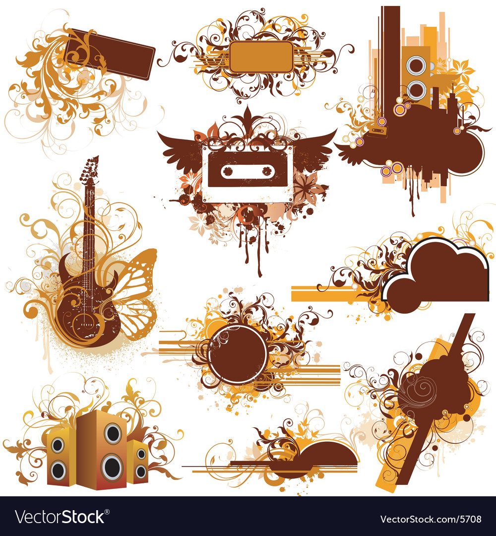 Urban music graphic frames vector | Price: 5 Credit (USD $5)