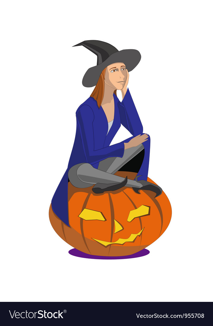 Witch sitting on a pumpkin on a white background vector | Price: 1 Credit (USD $1)