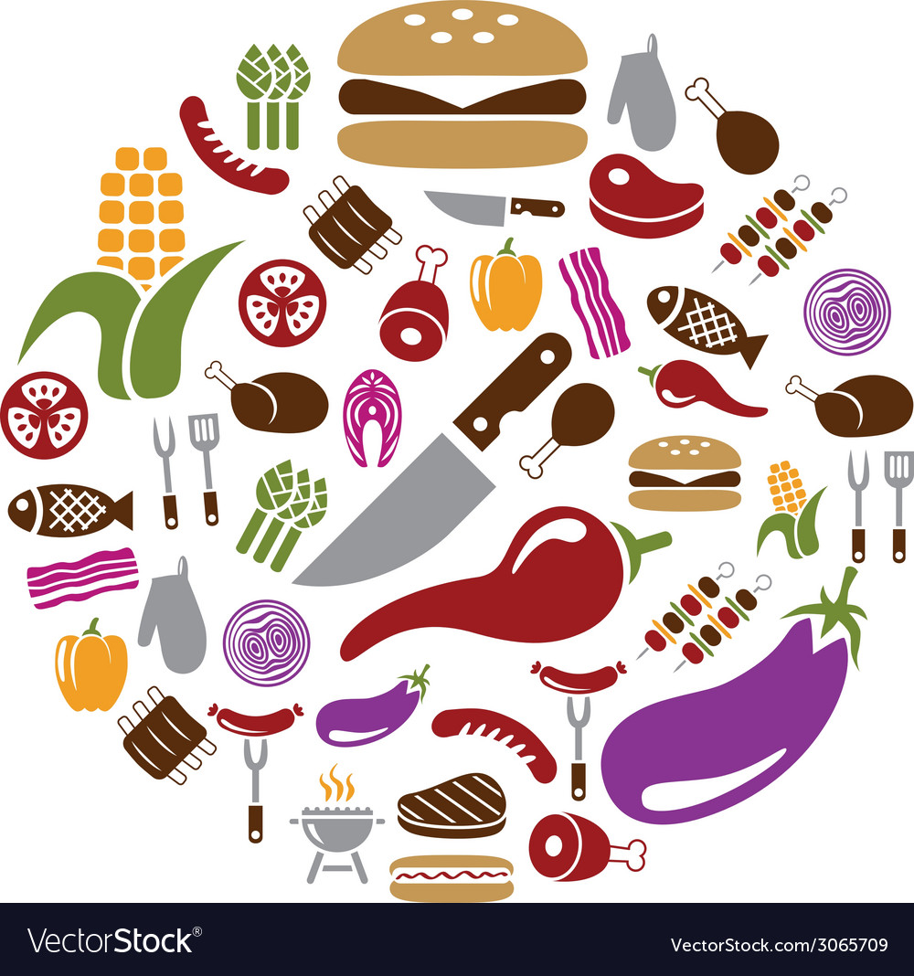 Barbecue icons in circle vector | Price: 1 Credit (USD $1)
