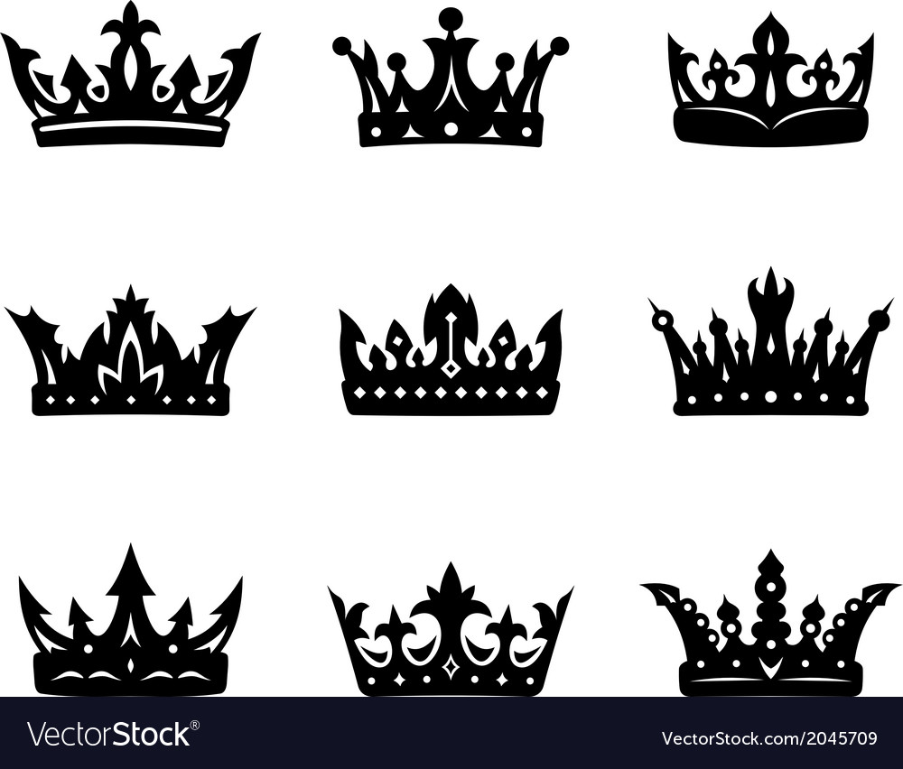 Black heraldic royal crowns vector | Price: 1 Credit (USD $1)