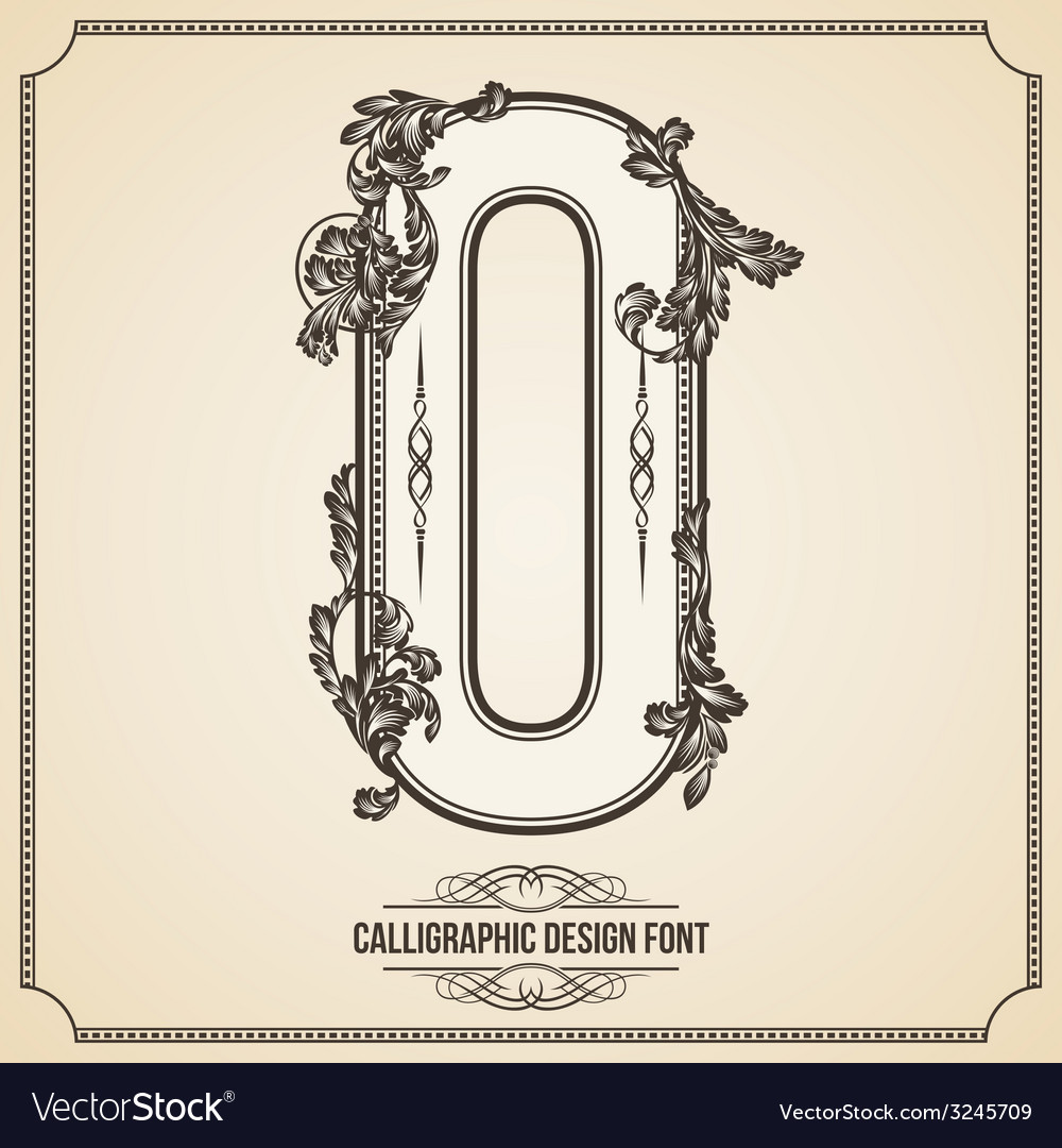 Calligraphic font number 0 vector | Price: 1 Credit (USD $1)