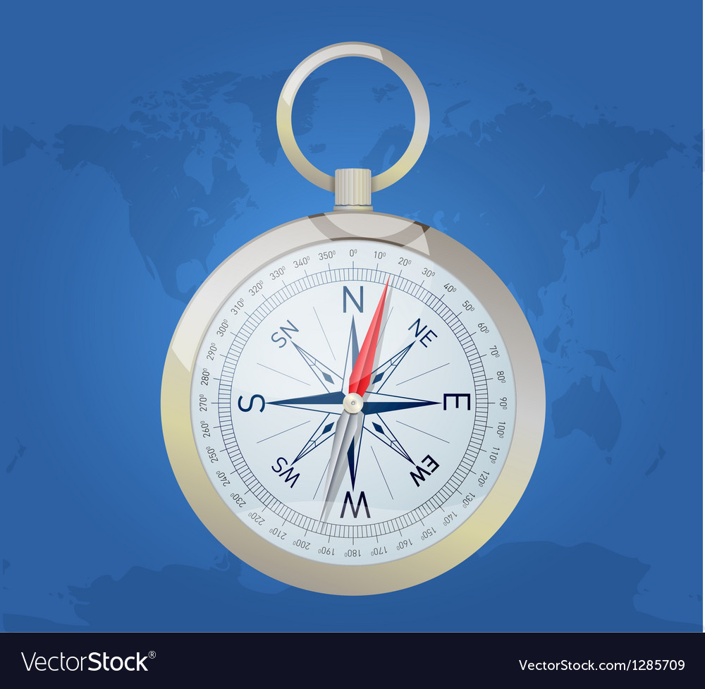 Compass on the world map background vector | Price: 1 Credit (USD $1)