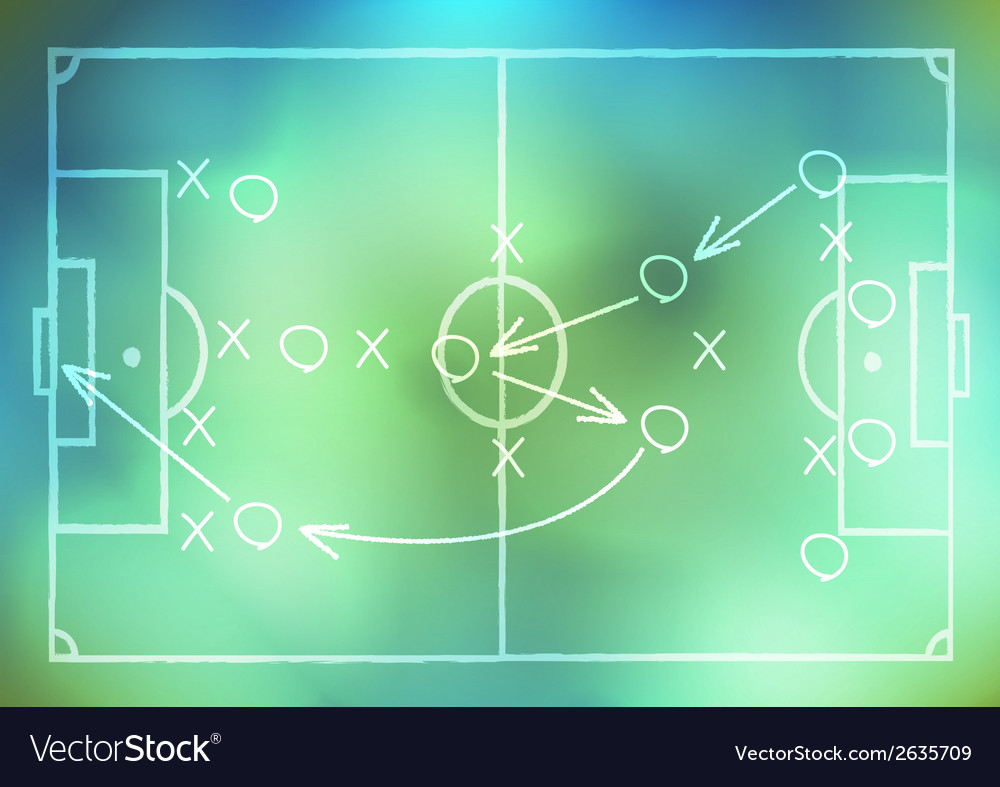 Drawing a soccer game strategy on background vector | Price: 1 Credit (USD $1)