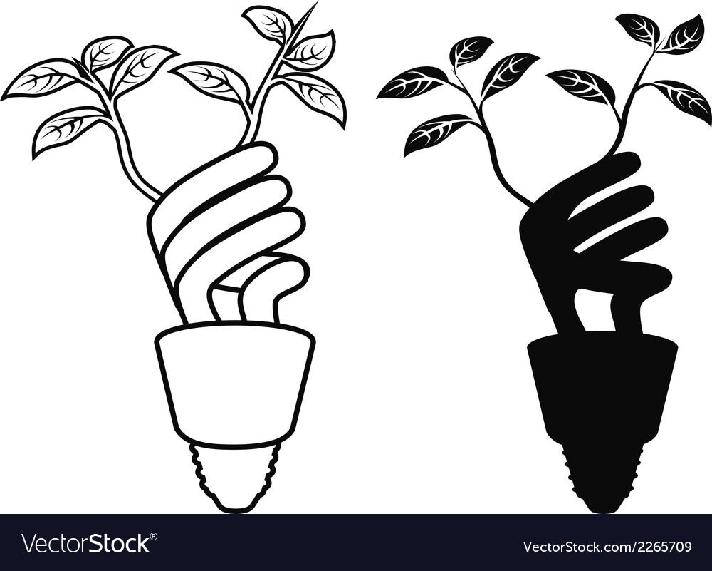 Energy saving lightbulb leaf vector | Price: 1 Credit (USD $1)