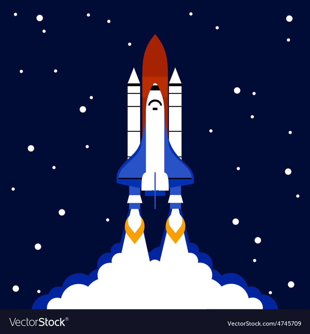 Launch concept space rocket background vector | Price: 1 Credit (USD $1)