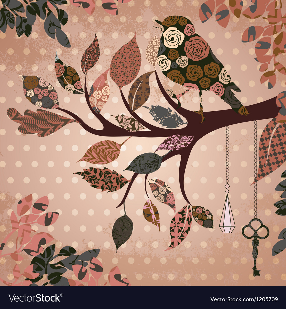 Retro background with leaves and bird of patches vector | Price: 1 Credit (USD $1)