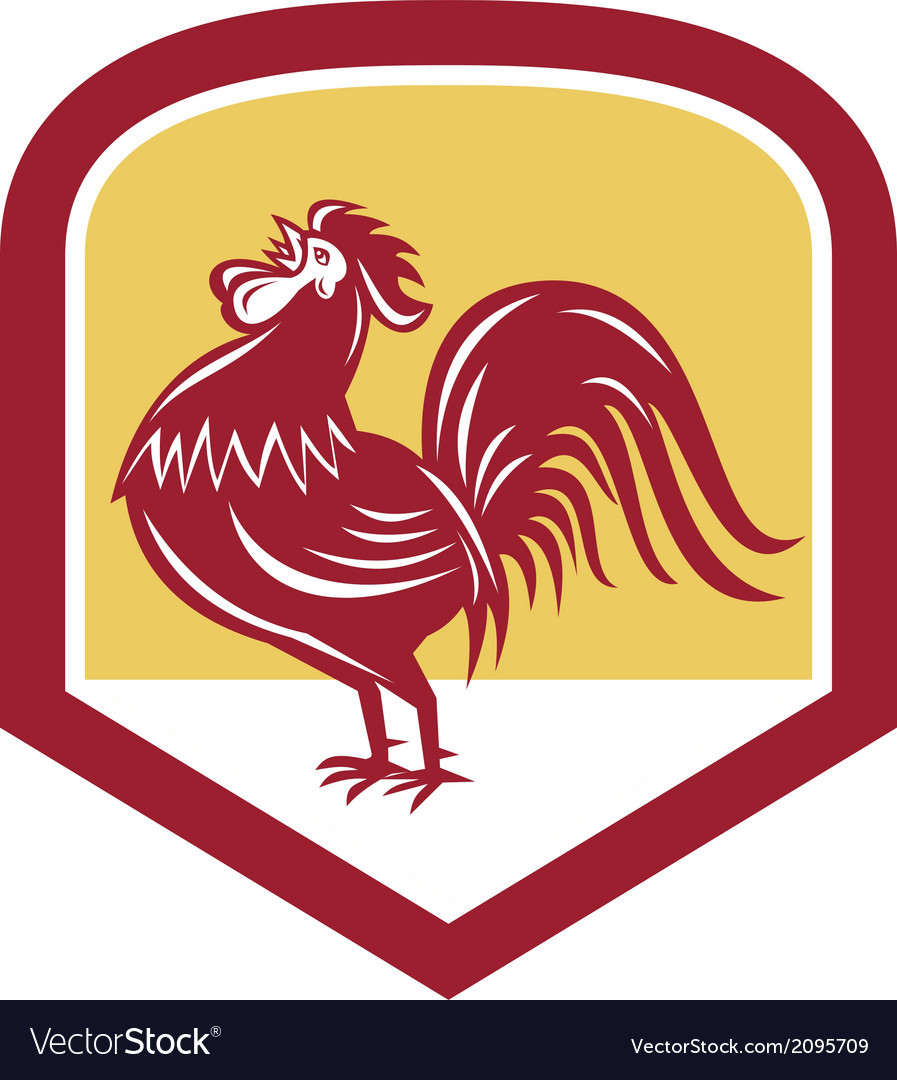 Rooster cockerel crowing side woodcut shield vector   Price: 1 Credit (USD $1)