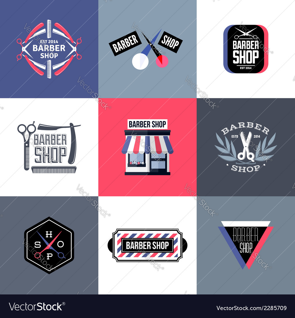 Set of barber shop logos and emblems vector | Price: 1 Credit (USD $1)