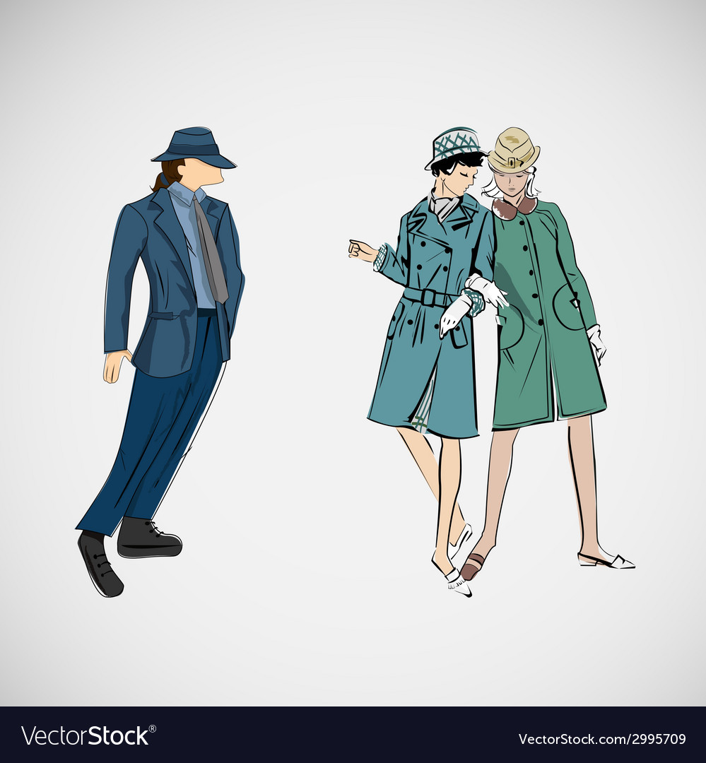 Sketch girls and man in fashion clothes vector | Price: 1 Credit (USD $1)