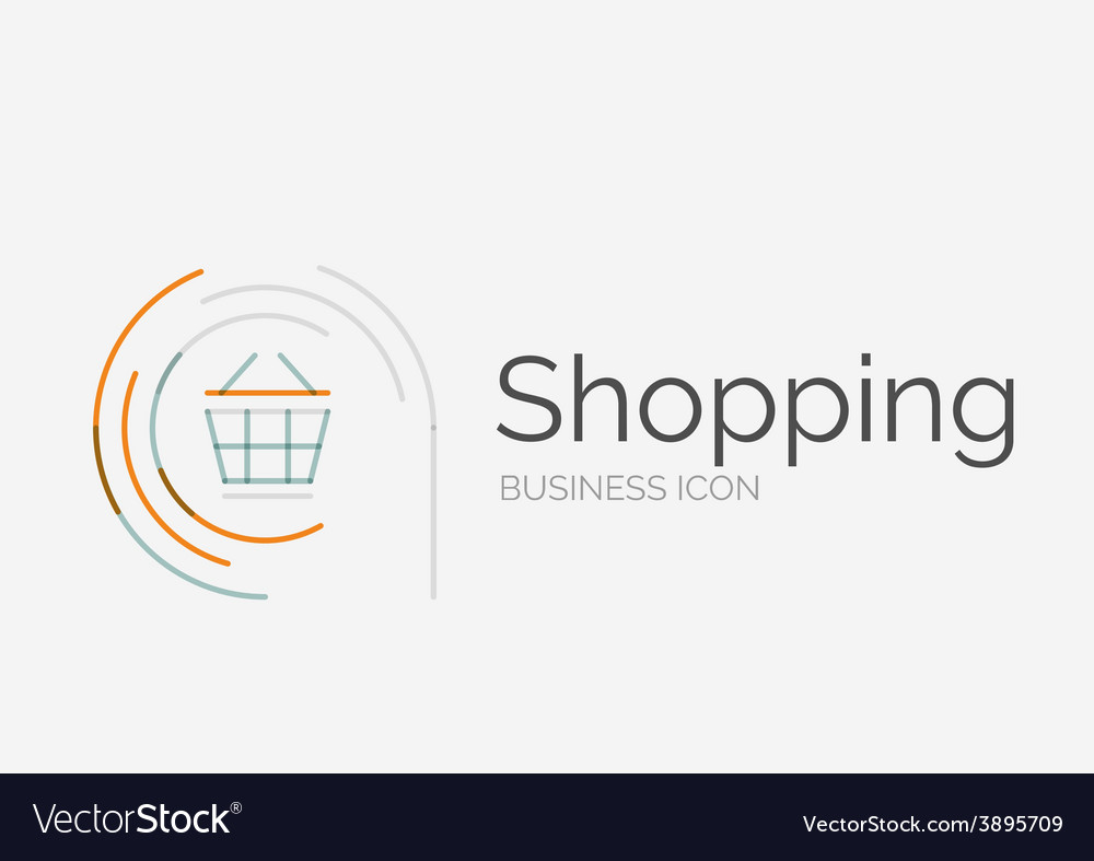 Thin line neat design logo shopping cart icon vector   Price: 1 Credit (USD $1)