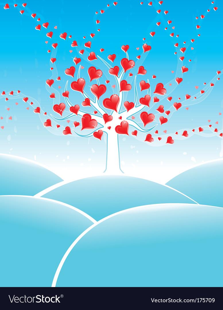 Winter valentine tree vector | Price: 1 Credit (USD $1)