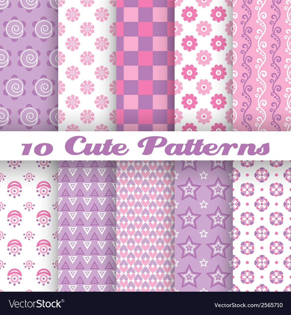 10 cute abstract geometric bright seamless vector | Price: 1 Credit (USD $1)