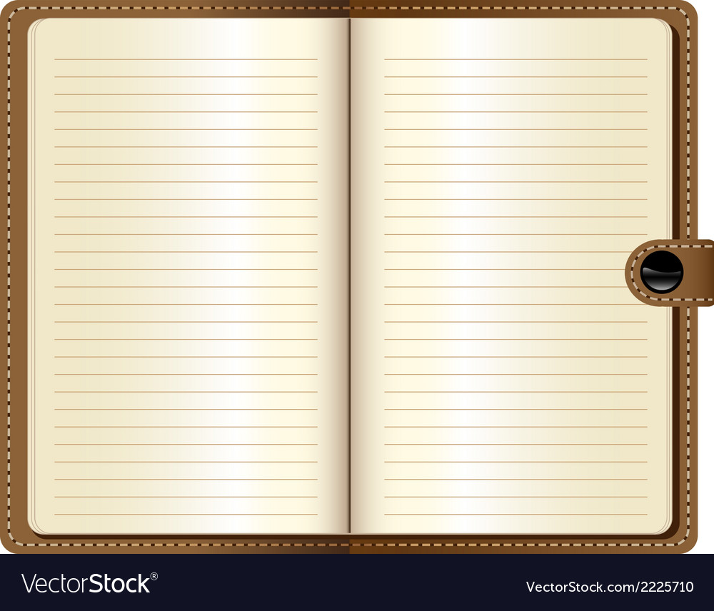 A leather notebook on white background vector | Price: 1 Credit (USD $1)