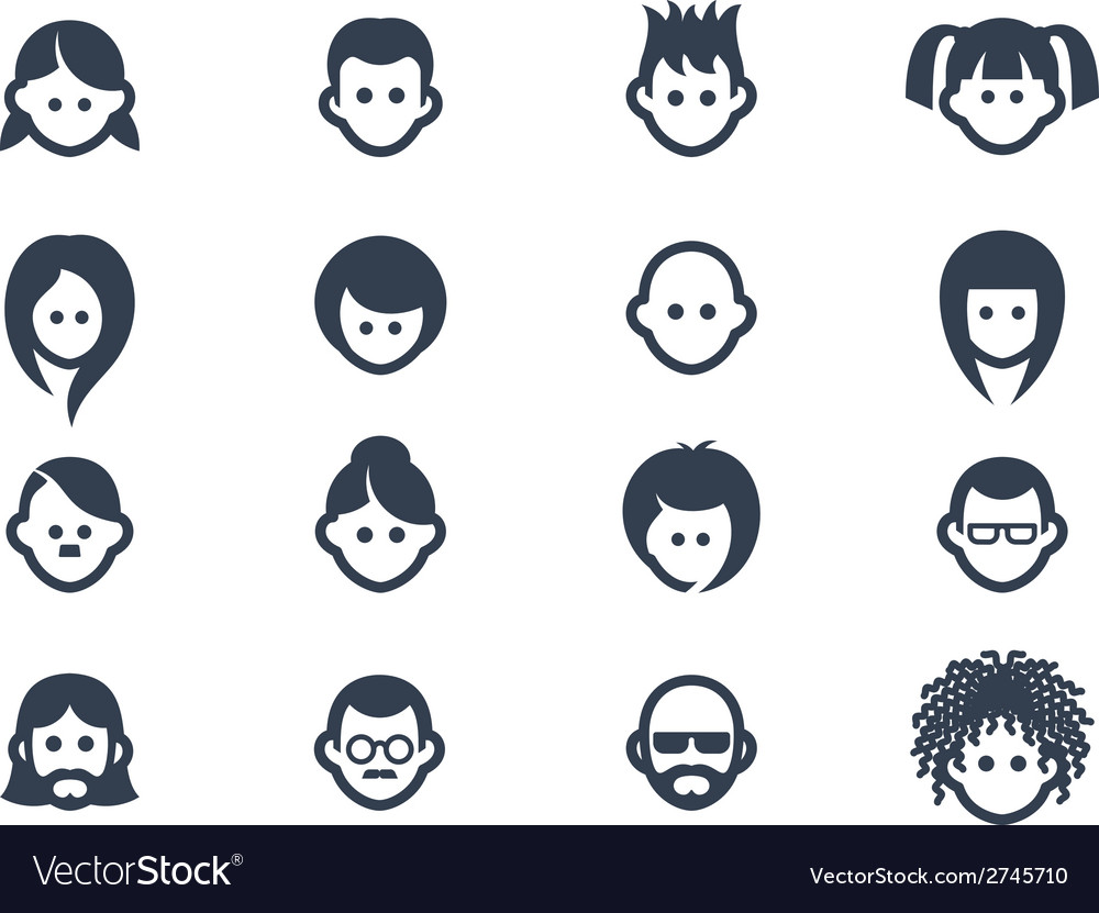 Avatar icons 2 vector | Price: 1 Credit (USD $1)