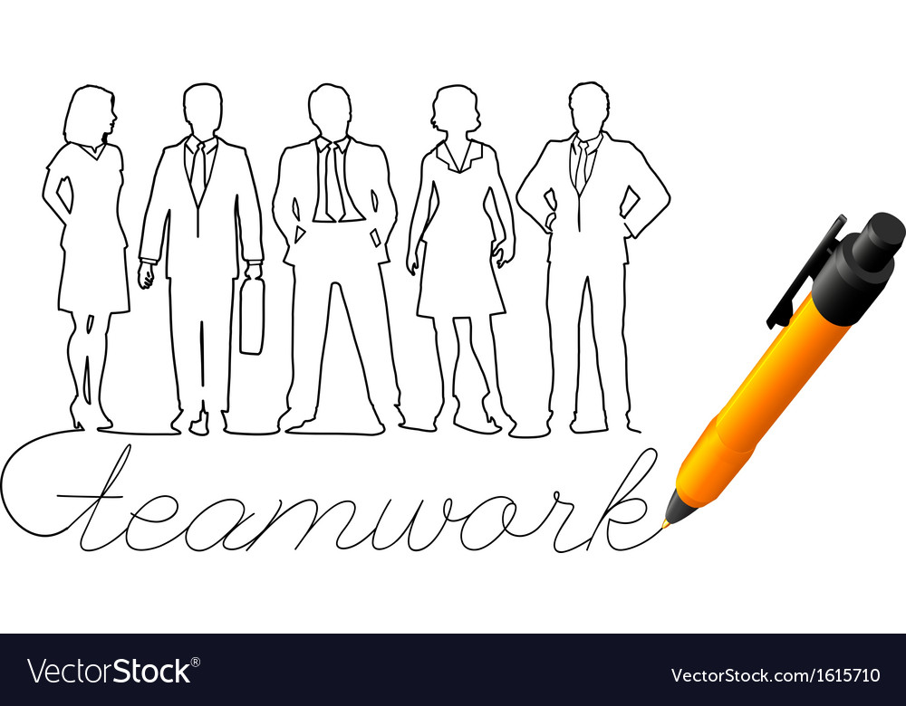 Drawing business team work people vector | Price: 1 Credit (USD $1)