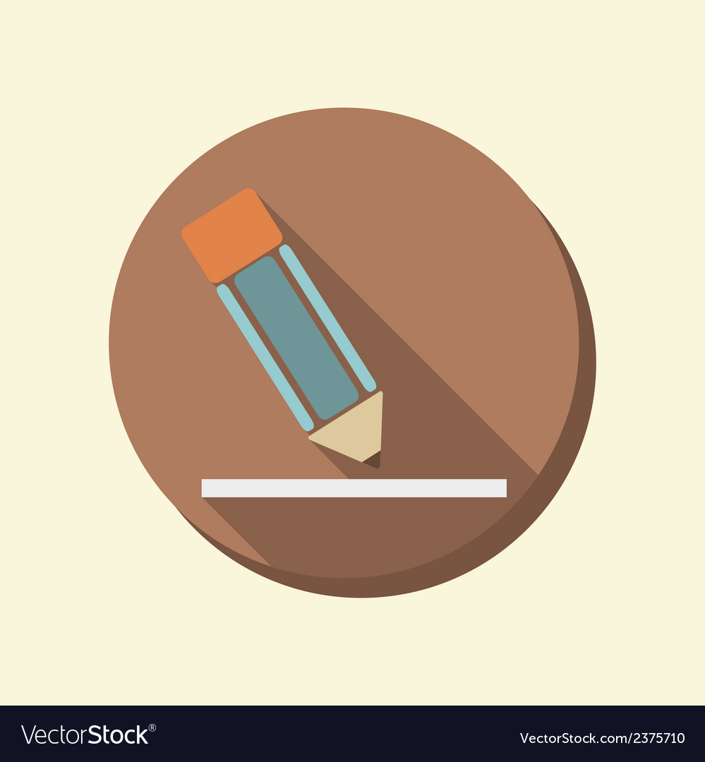 Flat circle web icon writing pencil vector | Price: 1 Credit (USD $1)