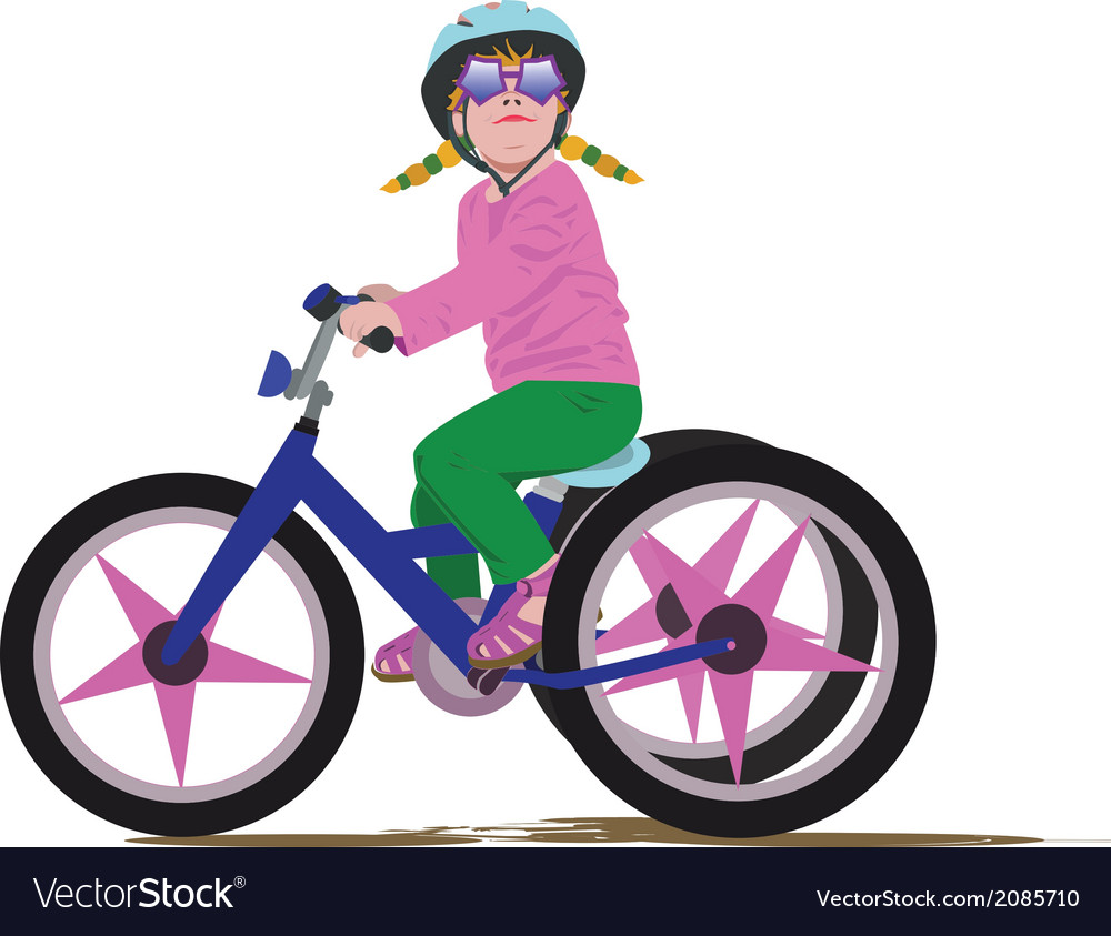 Girl on a bike vector | Price: 1 Credit (USD $1)