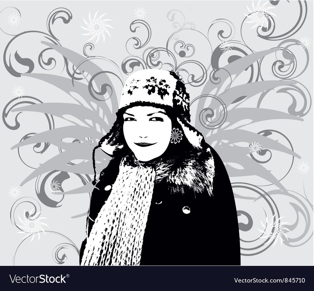 Girl winter background vector | Price: 1 Credit (USD $1)