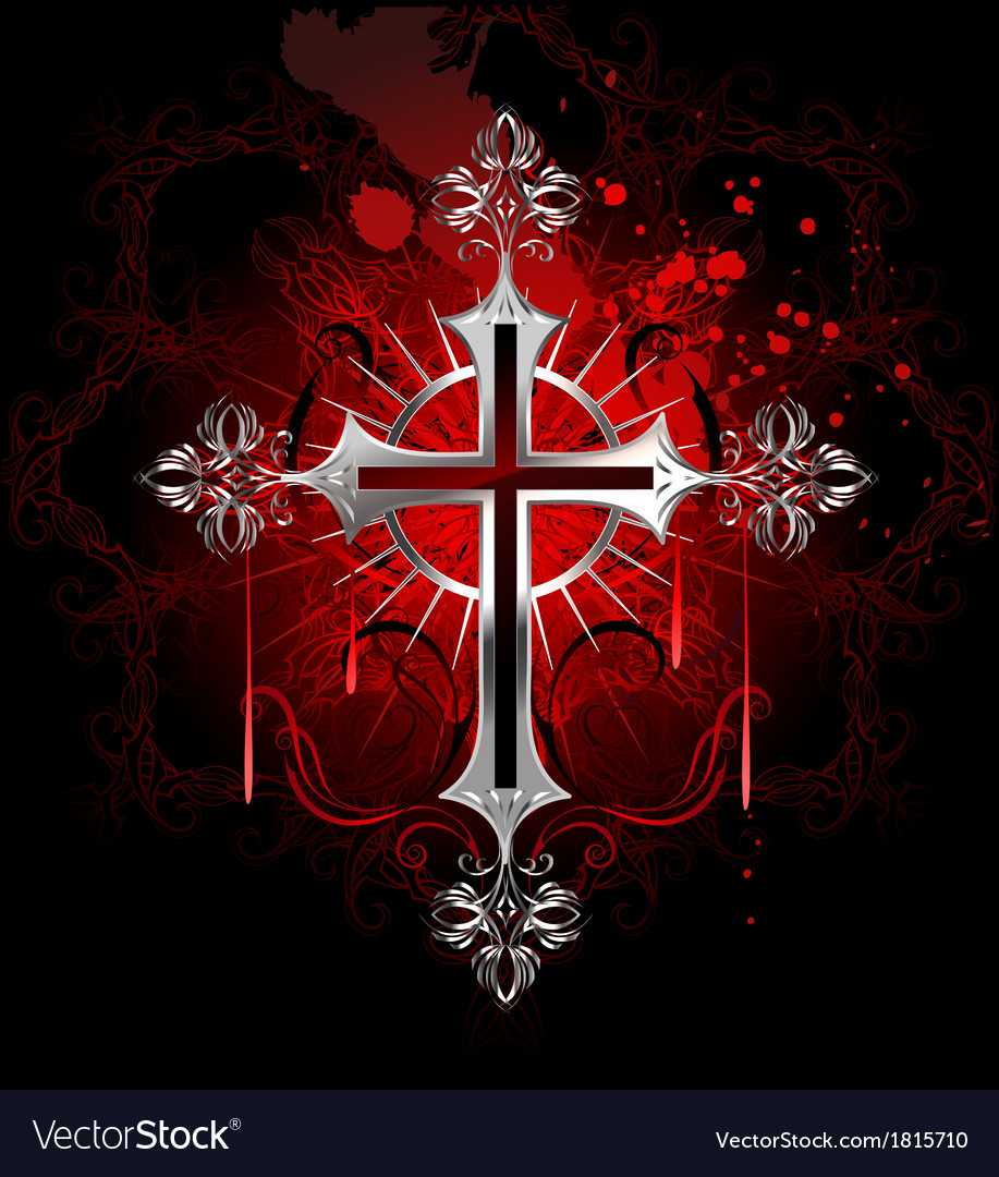 Gothic silver cross vector | Price: 1 Credit (USD $1)