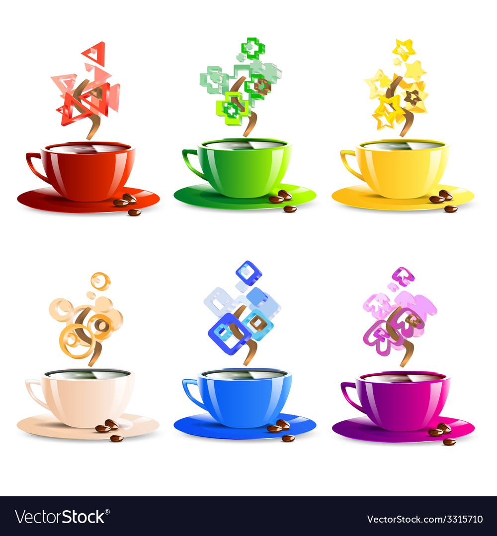 Icons set cup coffee color vector | Price: 1 Credit (USD $1)