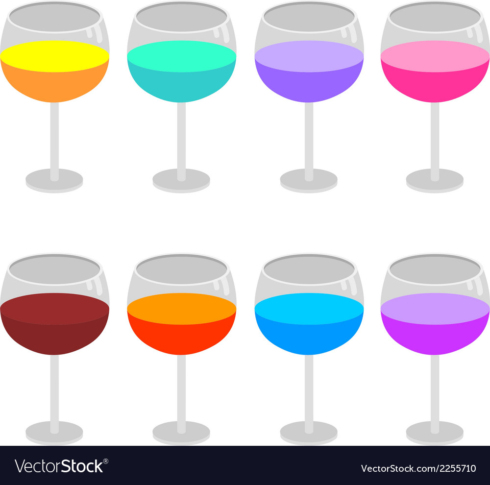 Isolated wine glasses set vector | Price: 1 Credit (USD $1)