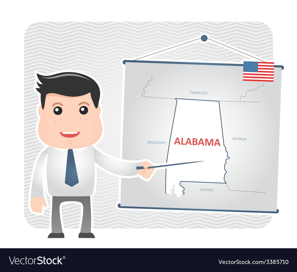 Man with a pointer points to a map of alabama vector | Price: 1 Credit (USD $1)