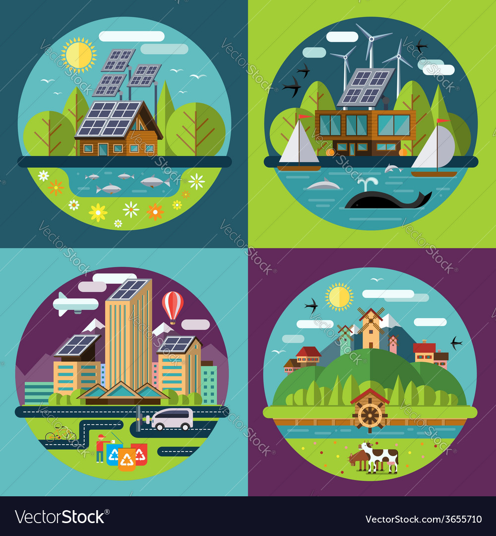 Set of flat ecology concept vector