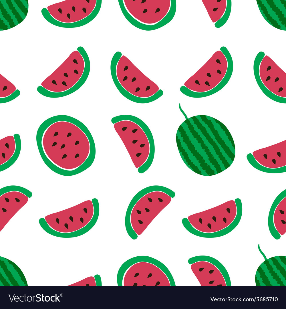 Watermelon slice seamless pattern vector | Price: 1 Credit (USD $1)
