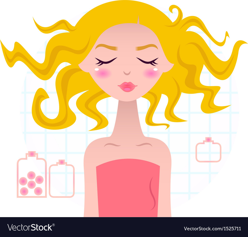 Beautiful spa blond girl in pink towel vector | Price: 1 Credit (USD $1)